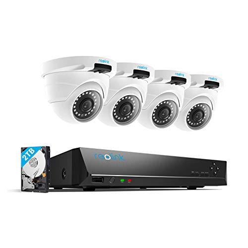 REOLINK 4MP 8CH PoE Video Surveillance System, 4 x Wired Outdoor 1440P PoE...