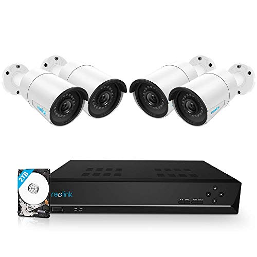 Reolink 8CH 5MP PoE Home Security Camera System, 4pcs Wired 5MP Outdoor PoE...