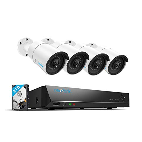 REOLINK 4MP 8CH PoE Video Surveillance System, 4pcs Wired Outdoor 1440P PoE...