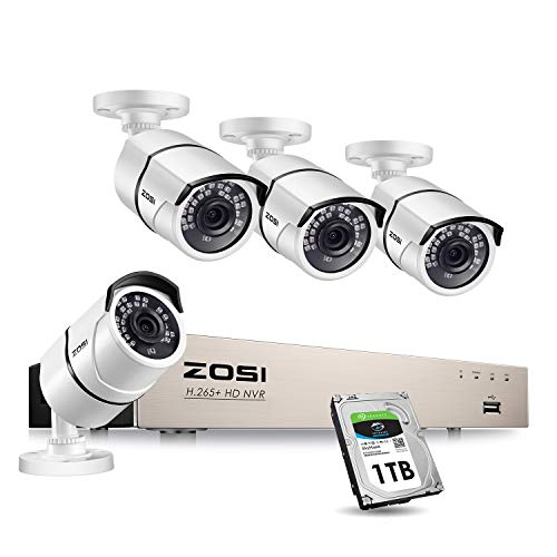 ZOSI PoE Home Security Camera System,H.265+ 8Channel 5MP CCTV NVR Recorder...