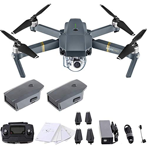 DJI Mavic Pro 4K Quadcopter with Remote Controller, 2 Batteries, with...