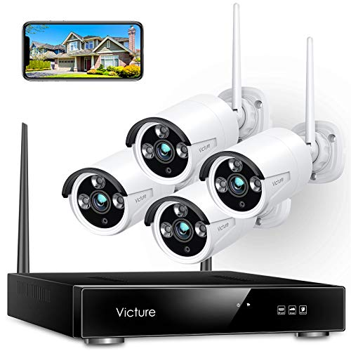 Wireless Security Camera System, Victure 1080P 8 Channel NVR 4PCS Outdoor...