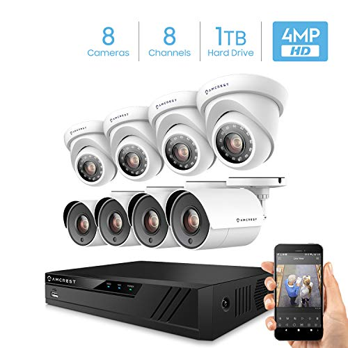 Amcrest UltraHD 4MP 8CH Home Security Camera System with 8 x 4-Megapixel...