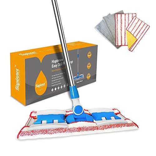 HAPINNEX Hardwood Dust Microfiber Floor Mop - 4 Washable & Reusable...