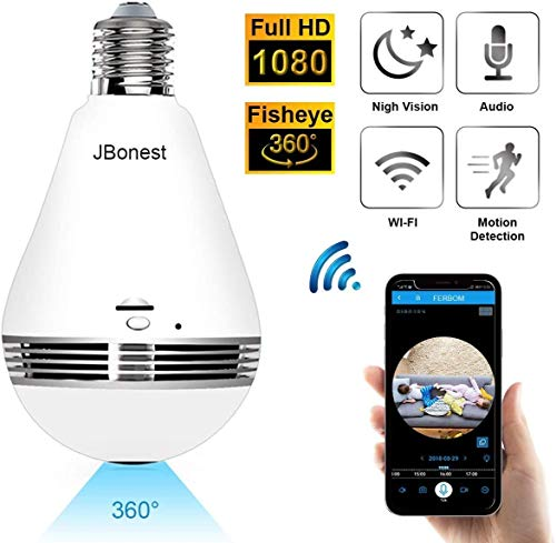 JBonest 1080P WiFi Camera Light Bulb Panoramic Camera with IR Motion...