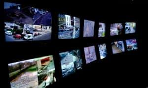 CCTV control room TV screens