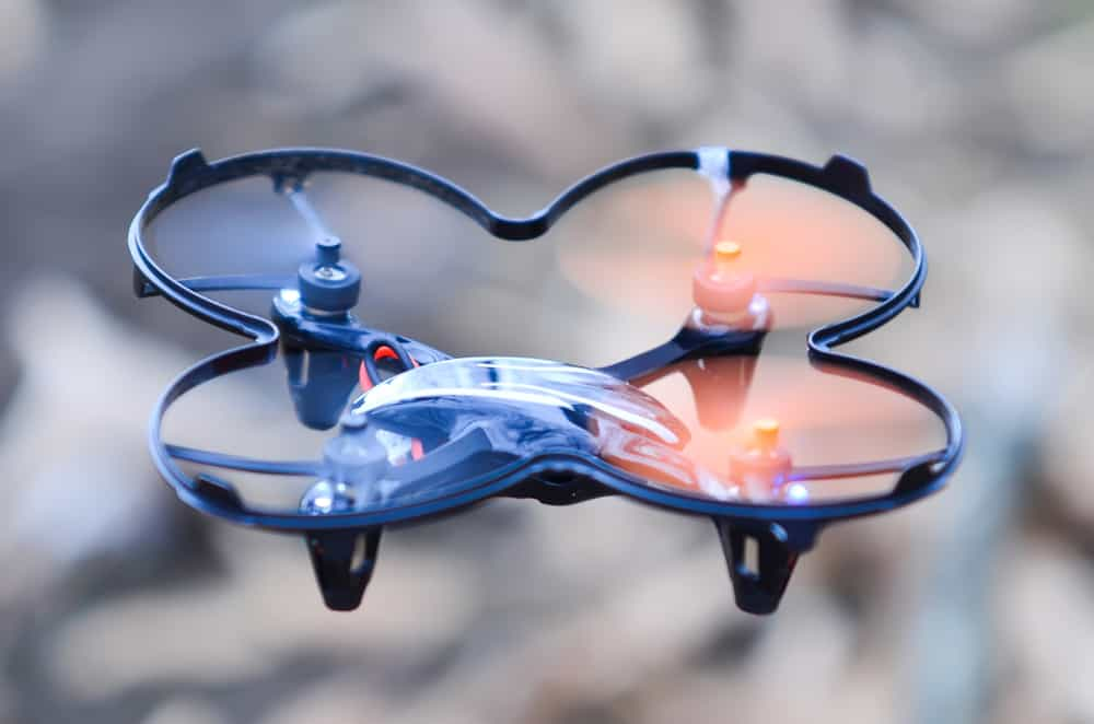 Remote controlled quadcopter drone in mid air