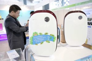 A customer shops for air purifiers