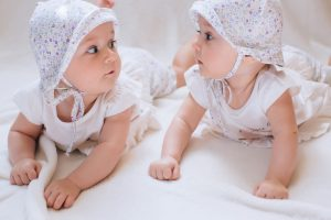 Funny twins sisters babies