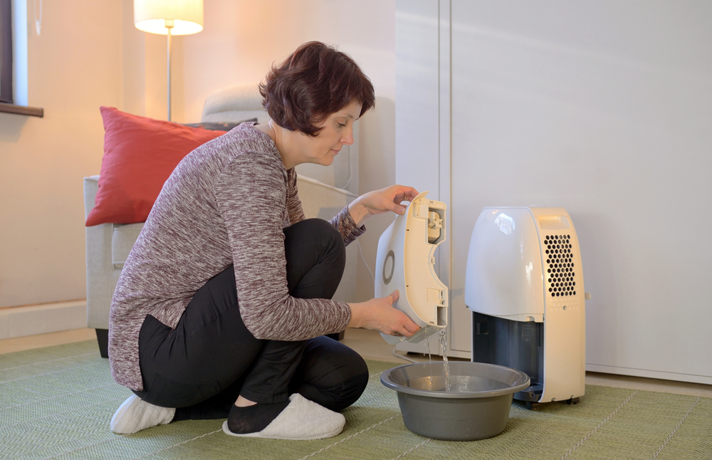 a old woman is trying to install her newly purchased small dehumidifier in her living room