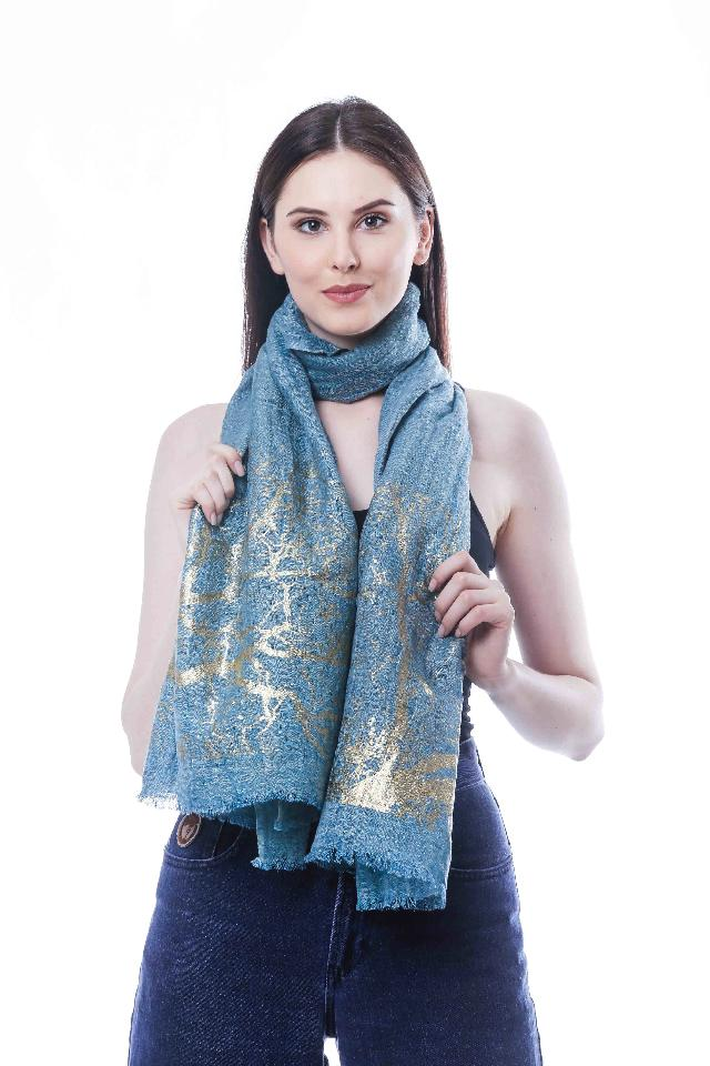 female with her blue scarf